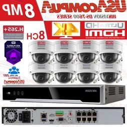 Hikvision 8CH 4K Security System NVR KIT Channel 4MP Dome PO