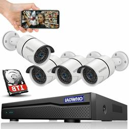 Wired 8ch Home Security Camera Outdoor System with Hard Dri