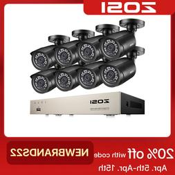 ZOSI 8CH 5MP Lite DVR 1080P Outdoor CCTV Security Camera Sys