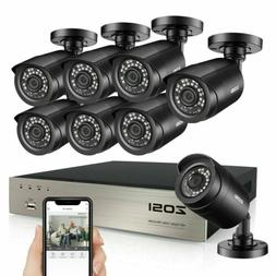 ZOSI 8CH H.265+ 1080P HDMI DVR 2MP Outdoor Surveillance Secu