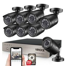 ZOSI 8CH 1080p HDMI DVR 720p Outdoor CCTV Home Security Came
