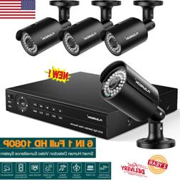8CH Security Camera System True HD 1080P 6-in-1 DVR w/ 4Pcs
