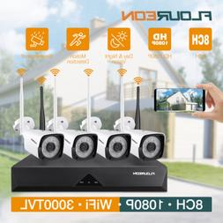 8CH 1080P Wireless CCTV Security Camera System Motion Detect