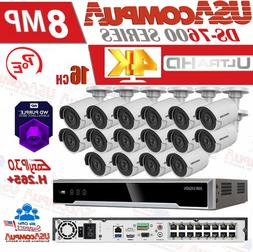 HIKVISION 8MP 4K SECURITY SYSTEM KIT 4K-UHD NVR 16CH POE 8MP