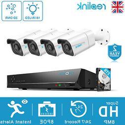 Reolink 8MP 4K Ultra HDD Camera System 8ch PoE NVR &4 PoE IP