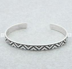 """925 Sterling Silver Triangle Motif Cuff """"Mexican Geometry"""" M"""