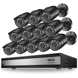 ZOSI 16 Channel H.265+ DVR 12 1080P Outdoor Surveillance Sec