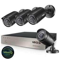 ZOSI 4CH 720P HD Security Camera System with 4 Weatherproof
