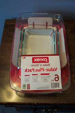 PYREX BAKE N' STORE 6 PIECE GLASS SET - NEW IN ORIGINAL PACK