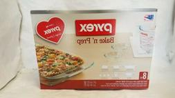 PYREX BAKE N' STORE 8 PIECE GLASS SET - NEW IN ORIGINAL PACK