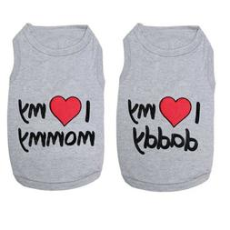 Cute Love Mommy Daddy Dog Shirt Summer Vest Costume Apparel