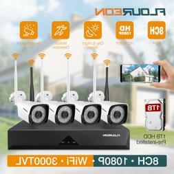 8CH DVR 1080P Wireless HDMI Recorder 2MP WiFi IP Camera Home