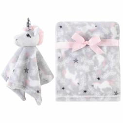 Hudson Baby Girl Plush Blanket and Security Blanket, 2-Piece