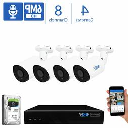 GW 8CH 4K  NVR 4 X 6MP 2048P PoE IP Outdoor Indoor Security