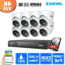 ANNKE H.265+ 8CH 8MP 4K NVR PoE Outdoor 1080P Security Camer