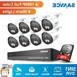 SANNCE HD 1080P 5in1 8CH DVR 2MP Full Color Night Vision Sec