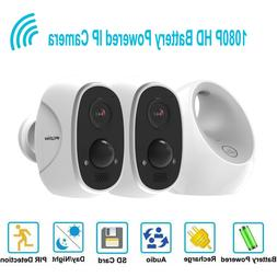 HD 1080P Wireless Security Wifi IP 2 Camera Outdoor Recharge