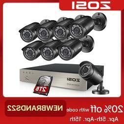 ZOSI HD 8CH 1080P DVR 720P Outdoor Home Surveillance Securit