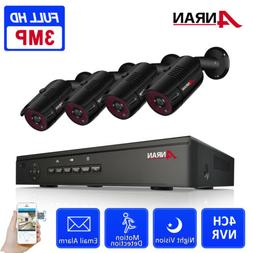 ANRAN Home Wired Security Camera System Outdoor 4CH 3MP POE