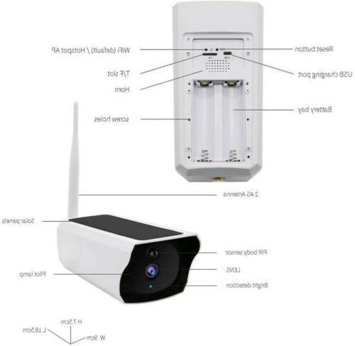 Solar 1080p WiFi Night Vision 32gb Card Wireless