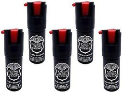 5 PACK Police Magnum pepper spray 1/2oz unit safety lock sel