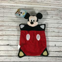 NWT Disney Mickey Mouse Plush Baby Security Blanket Red Blac