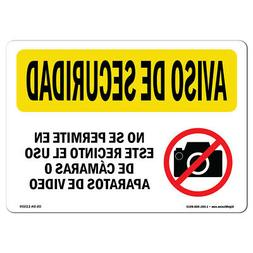OSHA SECURITY NOTICE Sign - Camera Or Video Prohibited Spani