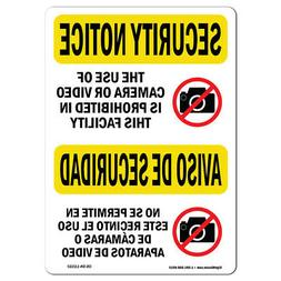 OSHA SECURITY NOTICE Sign - Camera Video Prohibited Bilingua