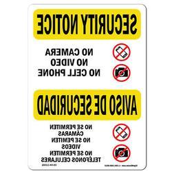 OSHA SECURITY NOTICE Sign - No Camera Video Cell Bilingual |