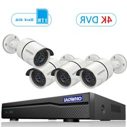 Outdoor Wired 8ch Home Security Camera System with 1TB Hard