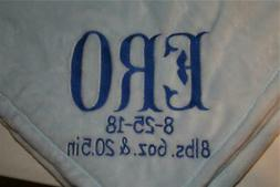 Personalized Monogrammed Baby Mini Security Blanket Light Bl