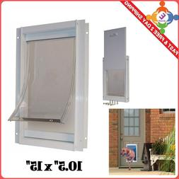 "Pet Door Gate 10.5"" X 15"" FlapTelescoping Frame Secure Dog E"
