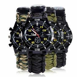 Protective Survival Bracelet Watch Paracord Compass Whistle