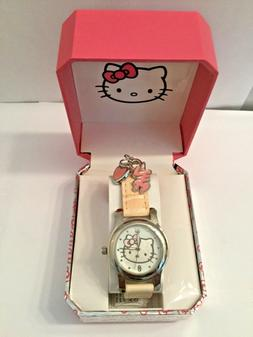 HELLO KITTY SANRIO 1881 LEATHER BAND WRIST WATCH WITH CHARMS