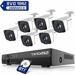 Security Camera System Outdoor, 8 Channel FHD Home System, 6