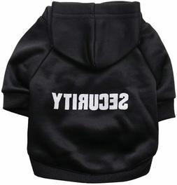 SECURITY Dog Pet Hoodie Sweatshirt Novelty Clothes Black XS