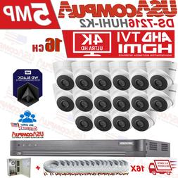 Hikvision Security System 16 Channel 16 Cameras 5MP Outdoor