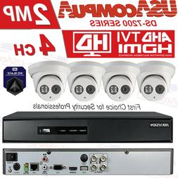 HIKVISION SECURITY SYSTEM 4CH 4 CAMERAS TURRET TURBO HD DVR