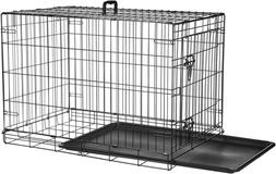 Single Door Dog/Pet Crate Folding Metal Kennel With 2 Secure