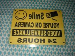 """SMILE YOU'RE ON CAMERA Warning Security Yellow Sign 7 1/4"""" w"""
