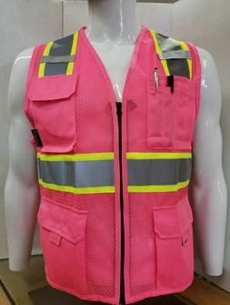 Two ToneHi Vis Reflective Pink Safety Vest for Traffic, Secu