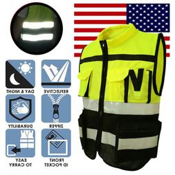 US Hi-Vis Safety Vest Reflective Jacket Security Waistcoat W