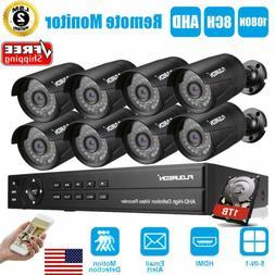 FLOUREON 8CH CCTV Security Camera System HD 1080P Outdoor Vi