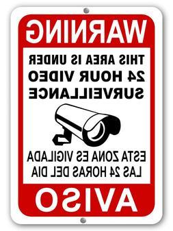 Warning Video Surveillance Camera Security Sign English/Span