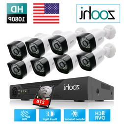 Zoohi Home 1080P CCTV Security Camera System Outdoor 4/8CH 1