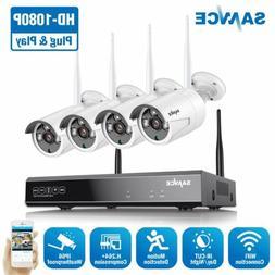 SANNCE Wireless 8CH NVR 1080P Video Outdoor WIFI CCTV IR Sec
