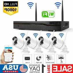 Wireless 4CH 1080P NVR Outdoor indoor WIFI HD Camera CCTV Se