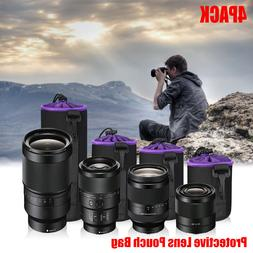 4 Pack Soft Neoprene Camera Lens Bag Pouch Protector Case Ca