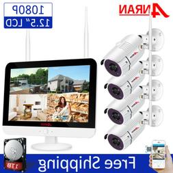 """8CH 12"""" Monitor 1080P Wireless Security Camera System Outdoo"""